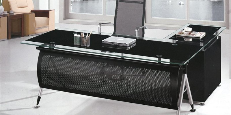 office with glass top l shape executive office table c ytj 8841